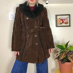 Vintage 70s suede coat faux fur collar w/ belt M